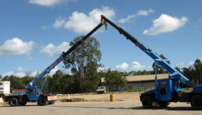 Conduct non-slewing crane operations